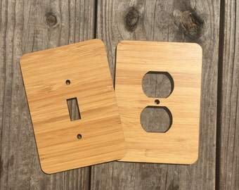 LIGHT SWITCH PLATES cover wooden - 1 single and 1 outlet lightswitch cover for lights wooden styles