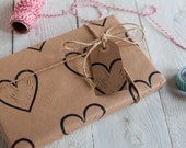 Heart Print Wrapping Paper: Including 1 Piece Gift Wrap, 2 x Gift Tags & Twine.