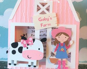 Farm Invitation /Pink Barn/ Red Barn/ Barnyard with Little Girl Farmer/ Farmer Boy