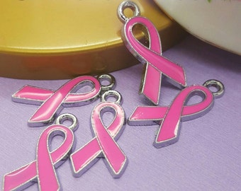 Breast Cancer Charms, Pink Ribbon Awareness, Enamel Charms, Awarness Charms 6/12 pcs, Cancer Awareness charms, Quantity Selection