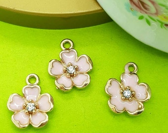 3 Flower charms - Flower Pendant - Pink Flower - Pink  Enamel Charm- Gold Tone 15 X 13 X 3 mm, Unique, Pendant charms, CTPKFL2