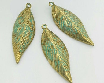 10 LEAF Charm Verdigris Patina Brass Leaf charm Ships from Florida U.S.