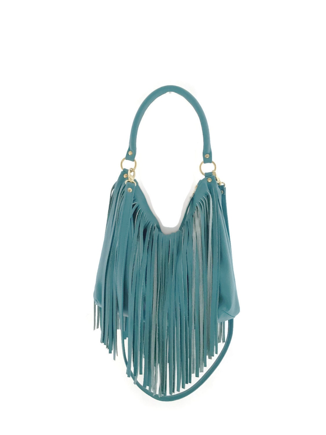 Turquoise crossbody bag // Fringe Hobo Handbag // Crossbody ...