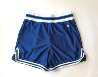 70s Gym SHorts, Retro, Blue, 70s, 80s, Betlin, Men's Vintage, Hipster, Costume, Prop, White