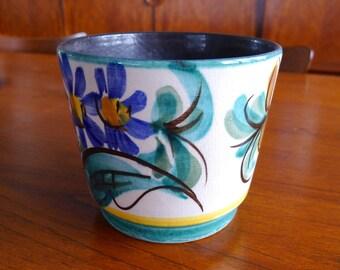 Mid Century Modern Planter, West German Pottery, Floral Motif, Folk Art, Vintage Ceramic planter