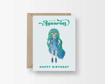 Aquarius Zodiac Birthday Card / Horoscope Birthday / Watercolor Illustration Card / Fashion Birthday Girl / Birthday Card for Girlfriend
