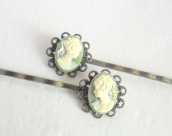 Victorian Cameo Hair Pins, Romantic Hair Accessories, Antiqued Brass Bobby Pins, Set of Two