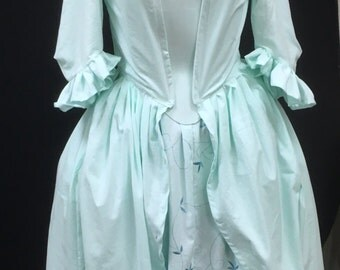 Mint green Georgian inspired open robe Anglaise with embroidered petticoat