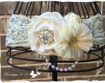Ivory Flower Girl Headband, White Flower Girl Headband, Ivory Headband, White Headband,