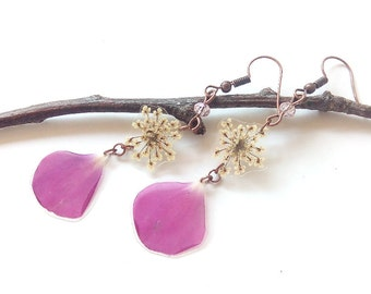 Real Flower Jewelry - Real Flower Earrings - Pressed Flowers - Geranium Jewelry - Nature Jewelry