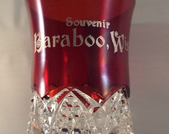 Wisconsin Baraboo Ruby Stained Button and Arches GLASS TUMBLER Tumbler Antique Serving Pieces, Victorian Gift under 20