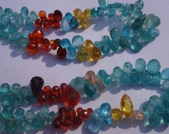 Loose Beads Natural apatite/Zircon Multi 4x7/5x8mm Faceted 11inch Single strand gemstone