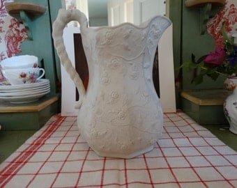 CODE: MOVINGSALE 35% Off Antique Bennington Pottery Parian Pitcher Circa 1852-1858 in the Wild Rose Pattern. Made in Vermont, USA.