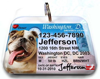 Washington DC driver license Personalized Custom ID Tags for dogs and cats Double Sided pet tags