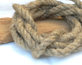 Vintage hemp rope, rough rustic string, half inch cord, textile art supply, old jute twine for nautical style decor, vintage wedding