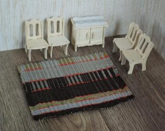 Wool carpet dollhouse textile hand woven miniature floor mat for doll house brown gray khaki rug