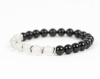 Black Tourmaline and Milky Quartz Bracelet, Natural Gemstone Bracelet, Womens Fashion, Gemstone Bracelet, Handmade Jewelry, Gemstone Jewelry