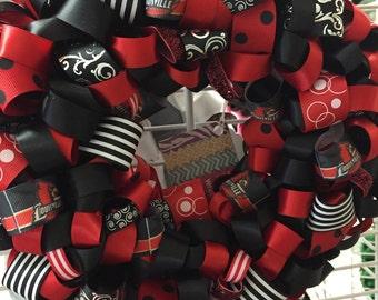 Handmade MINI University of Louisville Ribbon Wreath