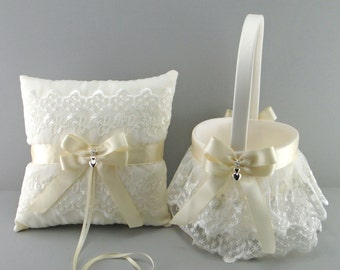 Ivory on Ivory Wedding Bridal Flower Girl Basket and Ring Bearer Pillow Set ~ Double Loop Bow & Double Hearts Charm ~ Allison Line