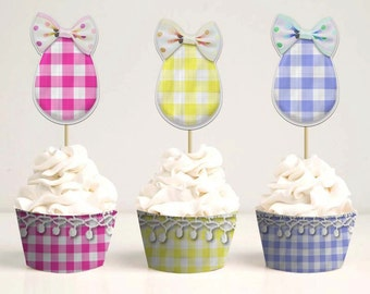 Easter cupcake toppers and liners, DIY printable toppers, Egg cupcake toppers and wrappers, Pastel plaid party decor, Instant download