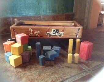 Wooden wagon and blocks, 1950's