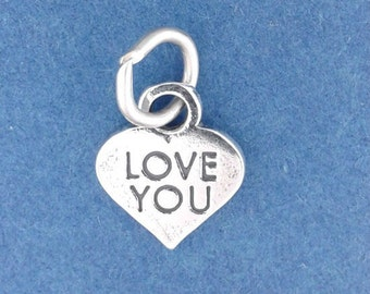 LOVE YOU Charm Sterling Silver .925 Candy Heart Valentine Miniature Small - f5363