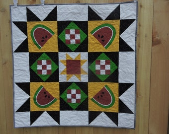 """Mini Watermelon Quilt in Red, Green, Black, Yellow and White    36"""" x 36"""""""