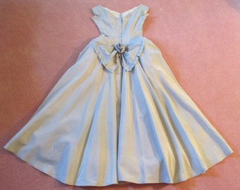 Vintage Fifties Sophisticated Rockabilly Powder Blue Priscilla of Boston Gown!  Simplicity at it's Best!