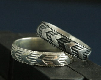 Chevron Band--Rounded Silver Band--On the Road Band--Men's Wedding Band--Chevron Ring--V Band--Jack Kerouac--Willie Nelson--One Direction