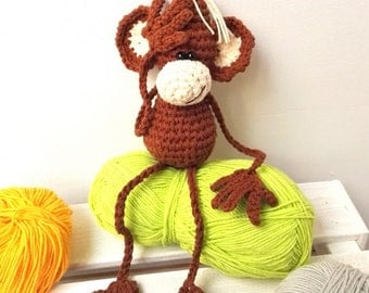 Crocheted monkey, Amigurumi monkey, Crochet monkey, Amigudumi doll, Crochet doll, Cute monkey, Amigurumi toy, Crochet toy, Plush, Soft toy