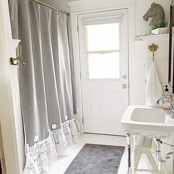 French Country Shower Curtain Grey Ruffle Shabby By Farmhousefare