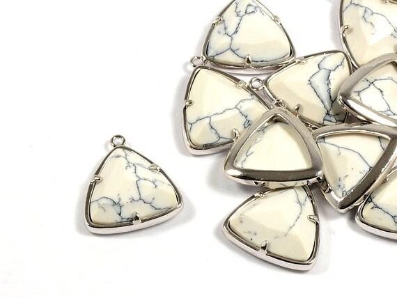 White Howlite Triangle Pendant/ Silver Frame Gemstone Charm with White Howlite in Anti-tarnish Rhodium Plating  - 2 pcs/ order