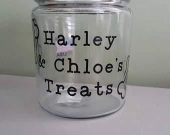 Personalized Dog Treat Jar, Glass Dog Treat Jar, Dog Accessories, Dog Feeding Accessories