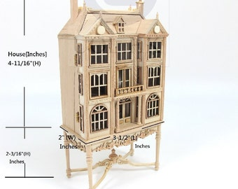 1:144 Scale Miniature Doll House On Table [Unfinished]