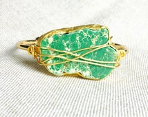 Gold Cuff Bracelet, Green Variscite Gemstone with Gold Plated Bezel Gold Cuff Bracelet