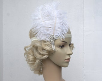 The Great Gatsby,20's flapper Headpiece, Vintage Inspired, Bridal 1920s Headpiece ,1930's, Rhinestone headband, Rhinestone flapper headpiece
