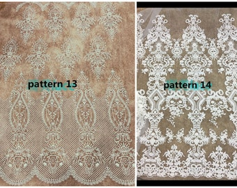 White bridal dress lace fabric , Baroque lace Fabric,embroidery lace ,wedding lace