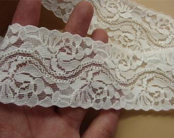 3yards off white lace trim, DIY Lace ribbon white flower Lace Trim , 4.5cm sewing Edges