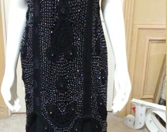SUE WONG Art Deco Black beaded Crochet Dress/Double Scoop Neck/Crochet Mesh Beads Embellish Mermeid Dress /Cocktail Dress/Evening Dress/ S/M