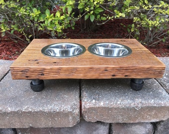 Mini / Small Dog or Cat Reclaimed Wood & Iron 2 Bowl Pet Feeder