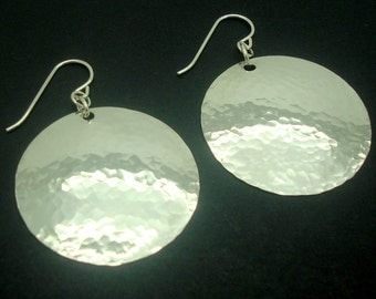 Large Disc Earrings in Hammered Sterling Silver in the 1-1/4 Inch Size
