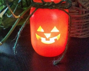 Pumpkin, orange mason jar, candle holder decor, Jack o lantern, halloween