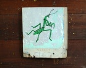 Praying Mantis Painting on Wood, Hand Painted Art on Reclaimed Wood, Green and White, Insect Bug Art