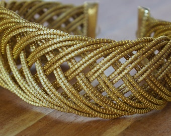 Statement Cuff Bracelet, Wide Golden Cuff Bracelet, Geometric Cuff, Organic Cuff Bracelet, Fiber Cuff Bracelet, Eco Friendly