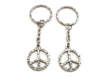 Peace Sign Keychain Set Peace Keychain  Set Best Friends Keychains Bff Gifts Peace Gifts Couples Keychain Set Mother Daughter Peace Keychain