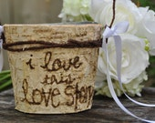 Rustic flower girl basket rustic wedding country wedding basket rustic basket shabby chic wedding personalized birch flower holder