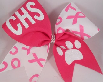 Cheer Bow Custom YOUR School and MASCOT Team Bows by BlingItOnCheerBowz Shocking Pink October Ribbons