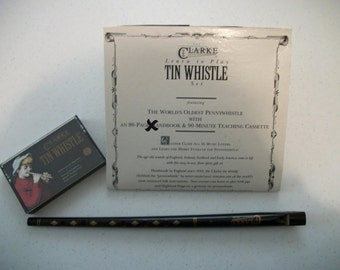 Vintage Clarke Tin Whistle With Learning Cassette