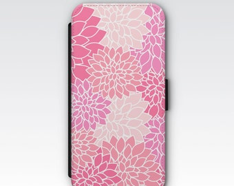 Wallet Case for iPhone 8 Plus, iPhone 8, iPhone 7 Plus, iPhone 7, iPhone 6, iPhone 6s, iPhone 5/5s Pink Dahlias Floral Patterned Wallet Case