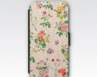 Wallet Case for iPhone 8 Plus, iPhone 8, iPhone 7 Plus, iPhone 7, iPhone 6, iPhone 6s, iPhone 5/5s - Vintage Wildflowers Floral Wallet Case